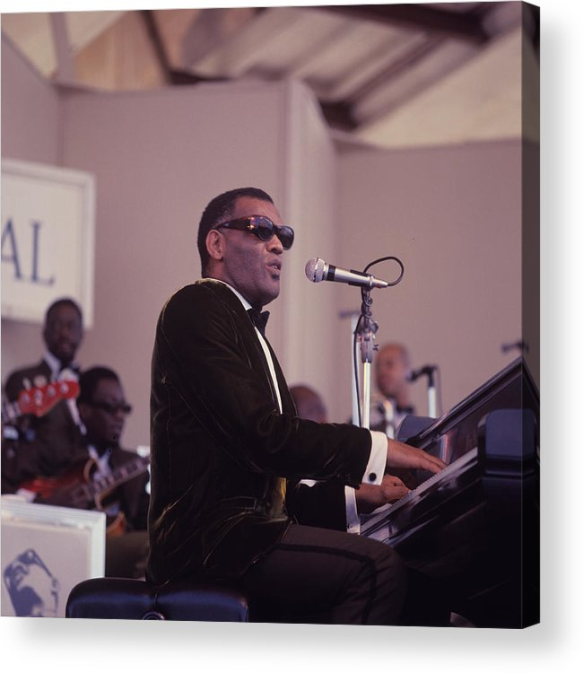 Singer Acrylic Print featuring the photograph Ray Charles Performs At Newport by David Redfern