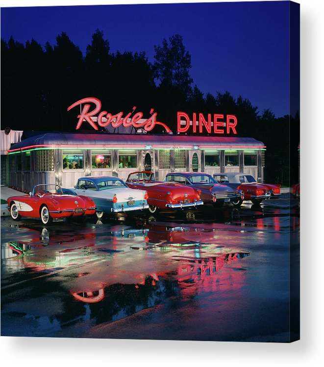 Unhealthy Eating Acrylic Print featuring the photograph Rosies Diner by Car Culture