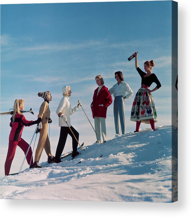 Skiing Acrylic Print featuring the photograph Skiing Party by Chaloner Woods
