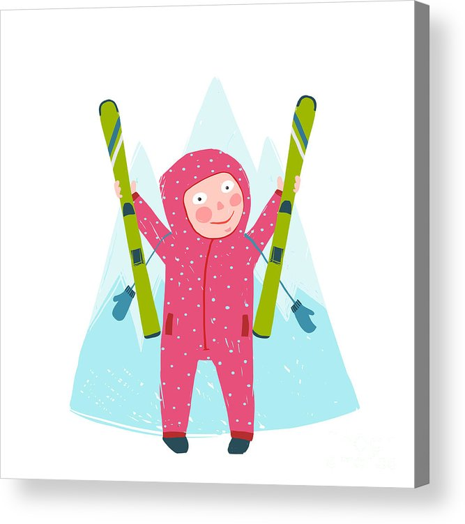 Mittens Acrylic Print featuring the digital art Skiing Sport Child Girl In Winter by Popmarleo