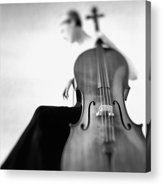 Caucasian Ethnicity Acrylic Print featuring the photograph Woman Sitting In Gown Holding Cello by Getty Images