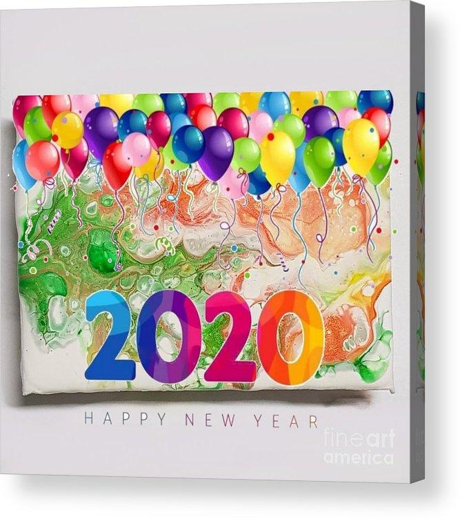 Happynewyear Acrylic Print featuring the mixed media Happy 2020 by Paola Baroni