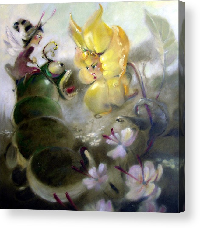 Fantasy Acrylic Print featuring the painting A Caterpillar Ride by Patrick McClintock