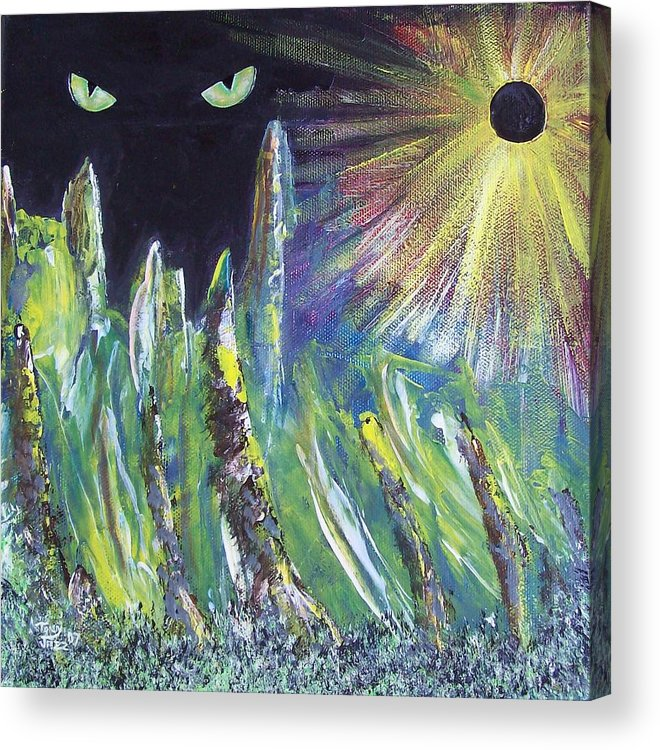 Surreal Acrylic Print featuring the painting Eclipse by Tony Rodriguez