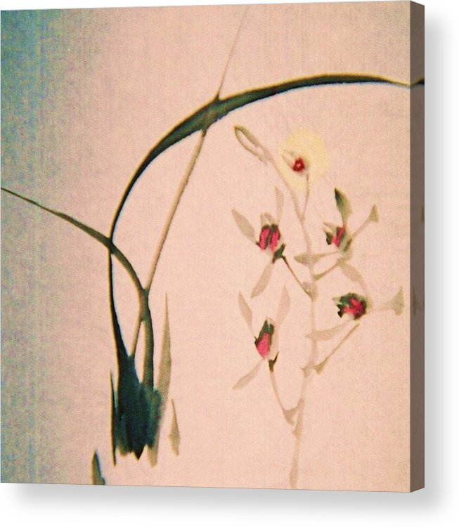 Asian Ink Brush Acrylic Print featuring the painting Grass And Buds by JuneFelicia Bennett