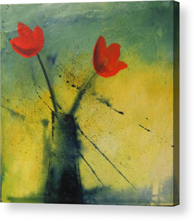 Painting Acrylic Print featuring the painting Red Tulips by Carrie Allbritton