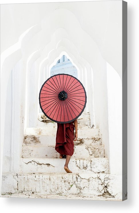 Steps Acrylic Print featuring the photograph Buddhist Monk Walking Along Temple by Martin Puddy