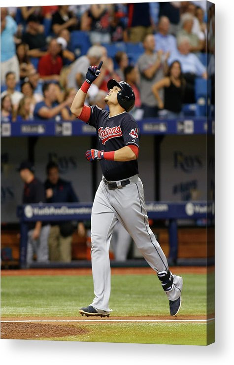 Following Acrylic Print featuring the photograph Cleveland Indians V Tampa Bay Rays by Brian Blanco