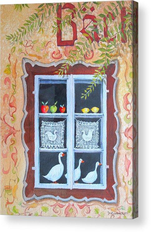 Austria Acrylic Print featuring the painting Halstatt Window by Mary Ellen Mueller Legault