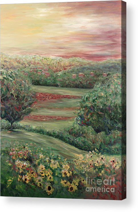 Tuscany Acrylic Print featuring the painting Summer in Tuscany by Nadine Rippelmeyer
