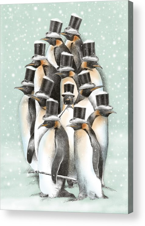 Penguins Acrylic Print featuring the drawing A Gathering in the Snow by Eric Fan