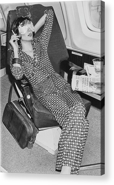 Fashion Acrylic Print featuring the photograph A Model Wearing A Sleeping Mask Smoking On An by Chris von Wangenheim