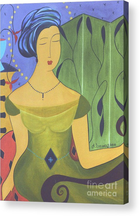 #female #figurative #decorative #fineart #art #images #painter #artist #print #commissioned #feminine #beauty #ancientbeauty Acrylic Print featuring the painting Ancient Beauty by Jacquelinemari