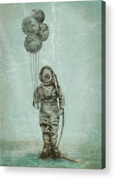 Ocean Acrylic Print featuring the drawing Balloon Fish by Eric Fan