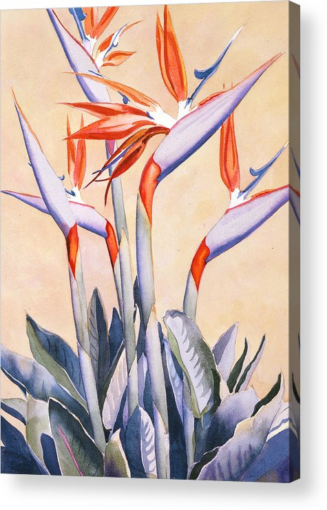 Flowers Acrylic Print featuring the painting Birds of Paradise by Mary Helmreich