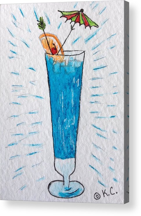 Blue Hawaiian Cocktail Acrylic Print featuring the painting Blue Hawaiian Cocktail by Kathy Marrs Chandler