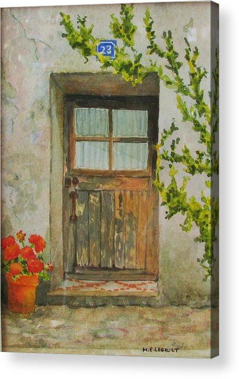 Door Acrylic Print featuring the painting Brittany Door by Mary Ellen Mueller Legault