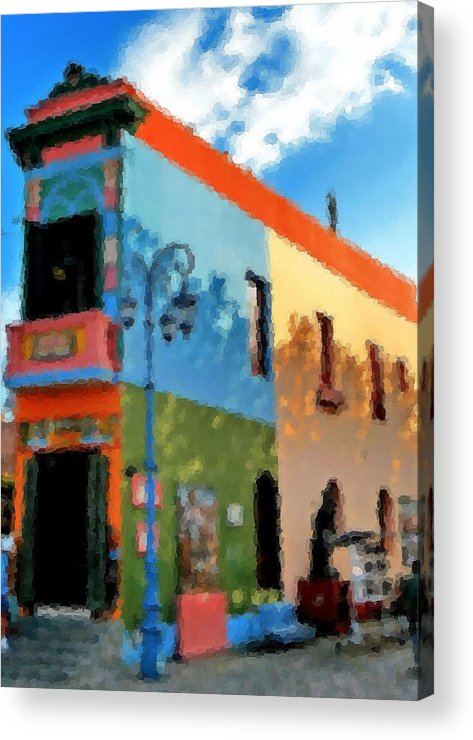 Buenos Aires Caminito Famous Iron_painting Acrylic Print featuring the digital art Buenos Aires Caminito Famous Iron Painting by Asbjorn Lonvig