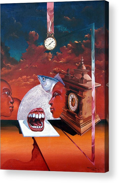 Otto+rapp Surrealism Surreal Fantasy Time Clocks Watch Consumption Acrylic Print featuring the painting Consumption Of Time by Otto Rapp