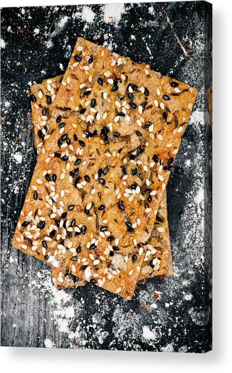 Sweden Acrylic Print featuring the photograph Crispbread With Thyme On Metal Sheet by Johner Images
