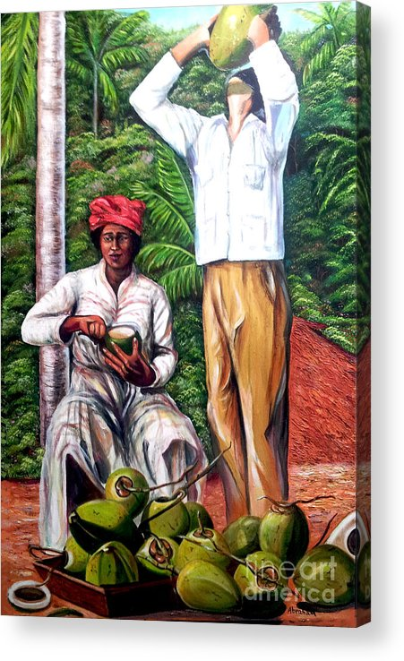 Coconut Acrylic Print featuring the painting Drinking coconut water by Jose Manuel Abraham
