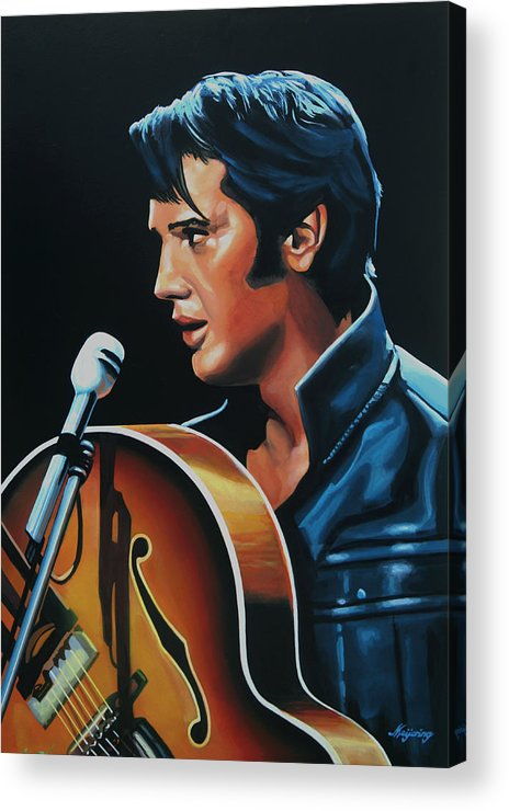 Elvis Acrylic Print featuring the painting Elvis Presley 3 Painting by Paul Meijering