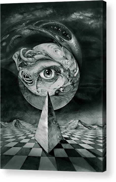 otto Rapp Surrealism Acrylic Print featuring the drawing Eye Of The Dark Star by Otto Rapp