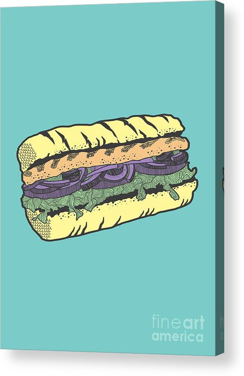 Sandwich Acrylic Print featuring the drawing Food masquerade by Freshinkstain
