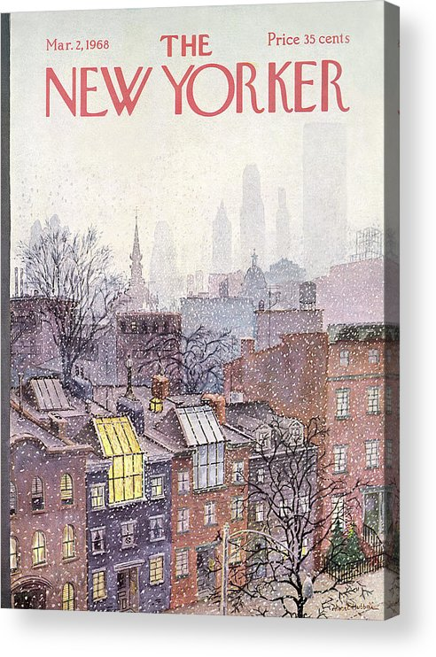 Albert Hubbell Ahu Acrylic Print featuring the painting New Yorker March 2, 1968 by Albert Hubbell