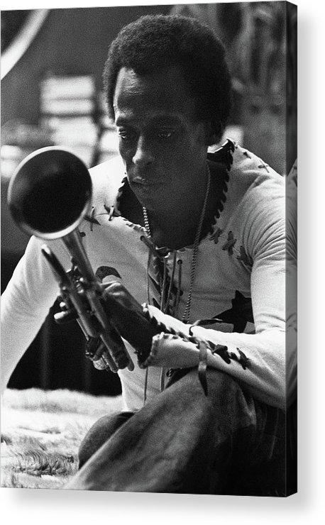 Artist Acrylic Print featuring the photograph Jazz Musician Miles Davis Looking At His Trumpet by Mark Patiky