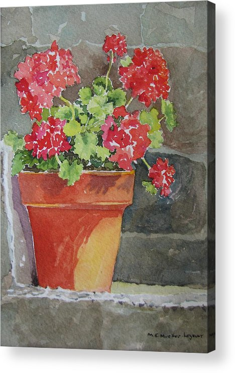 Claypots Acrylic Print featuring the painting Basking in the Sun by Mary Ellen Mueller Legault