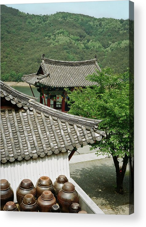 Tranquility Acrylic Print featuring the photograph Kimchi Pots, Tiles And Lanterns by Mimyofoto - Serge Lebrun
