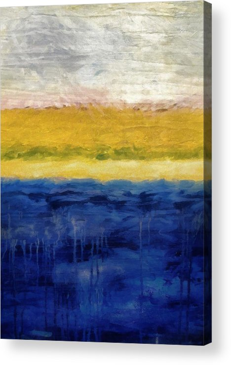Oceanside Acrylic Print featuring the painting Lapis And Gold Get Married by Michelle Calkins