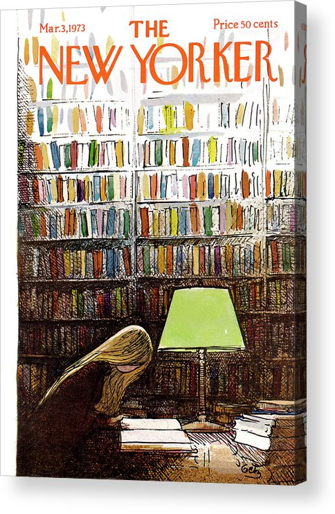Library Acrylic Print featuring the painting New Yorker March 3, 1973 by Arthur Getz