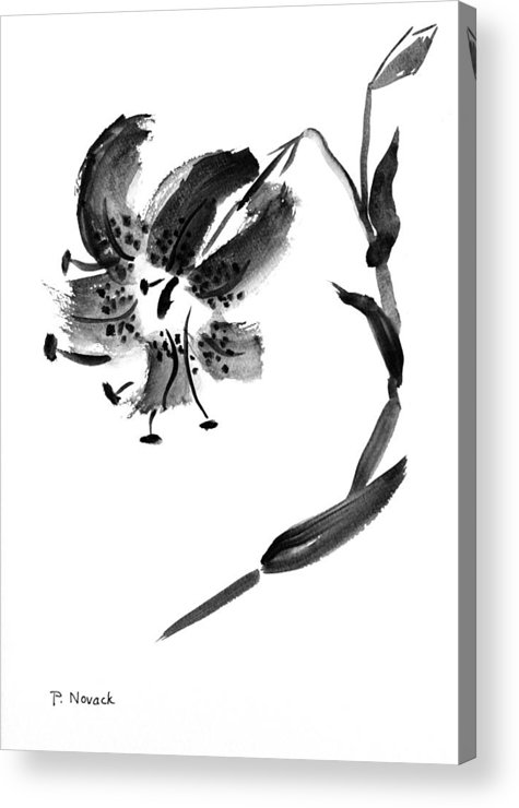 Lily Acrylic Print featuring the painting Lily In Black by Patricia Novack