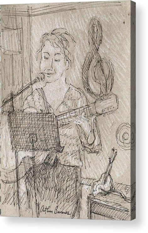 Music Acrylic Print featuring the drawing Angelic by Arthur Barnes