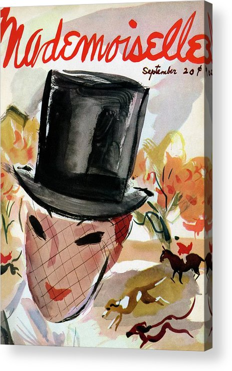 Illustration Acrylic Print featuring the photograph Mademoiselle Cover Featuring A Female Equestrian by Helen Jameson Hall