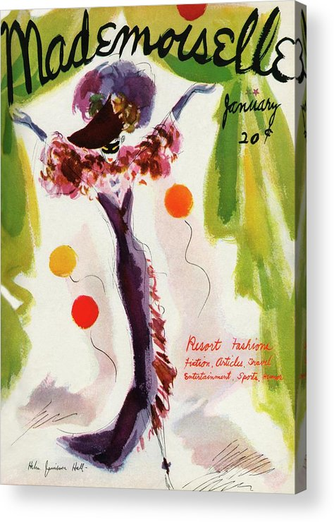 Illustration Acrylic Print featuring the photograph Mademoiselle Cover Featuring A Model Wearing by Helen Jameson Hall