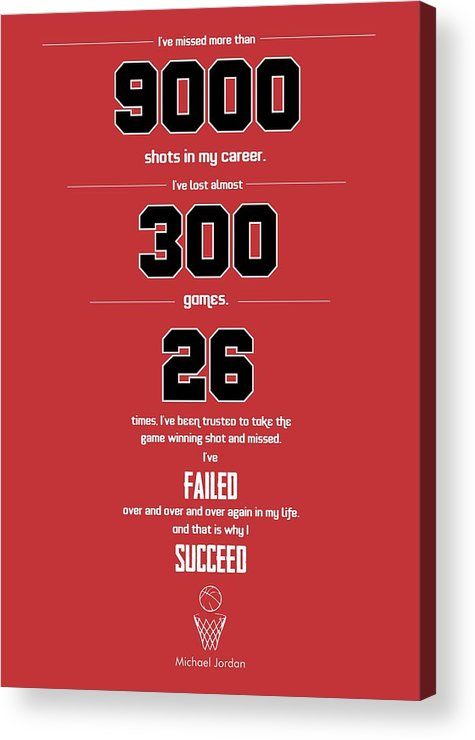 Typography Poster Acrylic Print featuring the digital art Michael Jordan quote sports inspirational Quotes Poster by Lab No 4 - The Quotography Department
