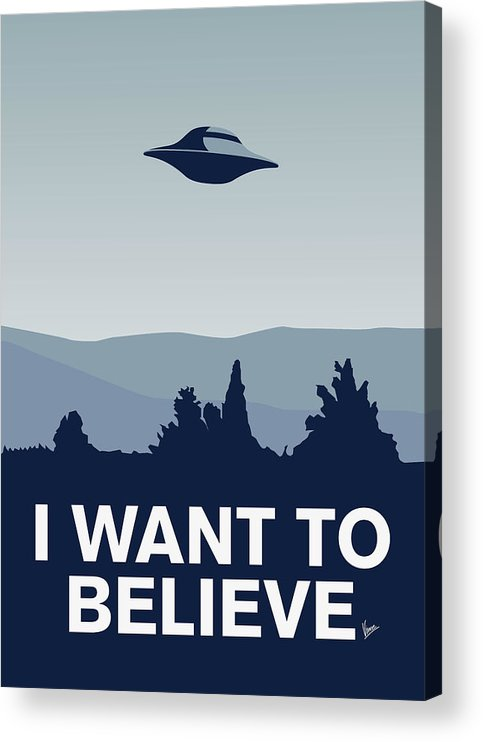 Classic Acrylic Print featuring the digital art My I want to believe minimal poster-xfiles by Chungkong Art