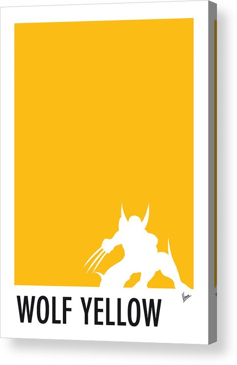Superheroes Acrylic Print featuring the digital art My Superhero 05 Wolf Yellow Minimal poster by Chungkong Art