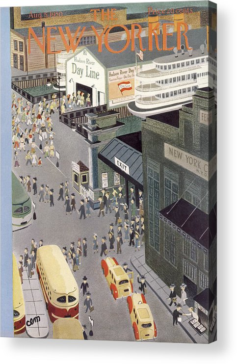 Urban Acrylic Print featuring the painting New Yorker August 5th, 1950 by Charles E Martin