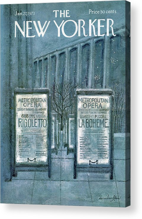 Opera Acrylic Print featuring the painting New Yorker January 27th, 1973 by Laura Jean Allen