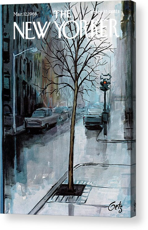 Rain Acrylic Print featuring the painting New Yorker March 12th, 1966 by Arthur Getz