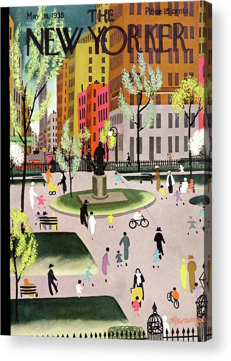 Park Acrylic Print featuring the painting New Yorker May 18, 1935 by Adolph K Kronengold