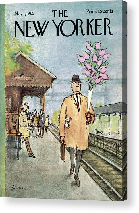 Holidays Acrylic Print featuring the painting New Yorker May 1st, 1965 by Charles Saxon