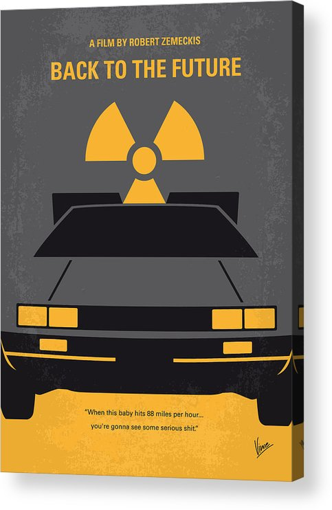 Back Acrylic Print featuring the digital art No183 My Back to the Future minimal movie poster by Chungkong Art