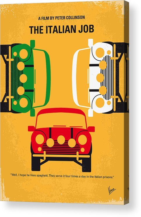 The Acrylic Print featuring the digital art No279 My The Italian Job minimal movie poster by Chungkong Art