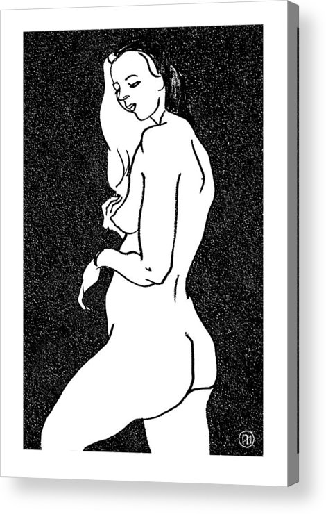 Nude Acrylic Print featuring the drawing Nude Sketch 1 by Leonid Petrushin