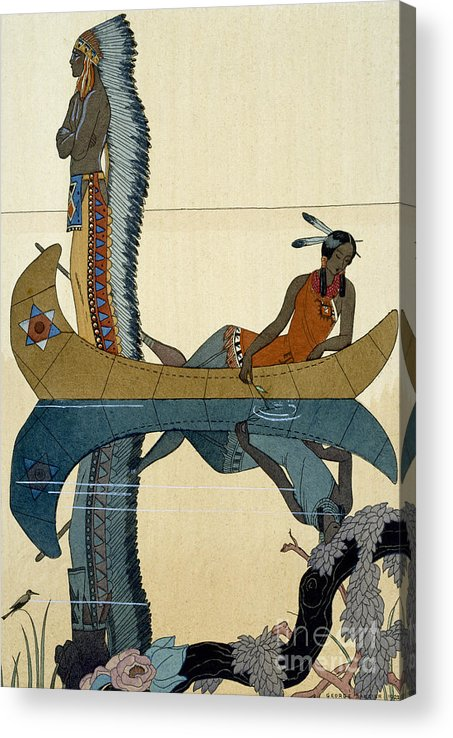 Le Long Du Missouri Acrylic Print featuring the painting On the Missouri by Georges Barbier